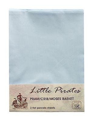 2 x Baby Pram/Crib/ Moses Basket  Flat Sheet 100% Luxury Cotton Blue