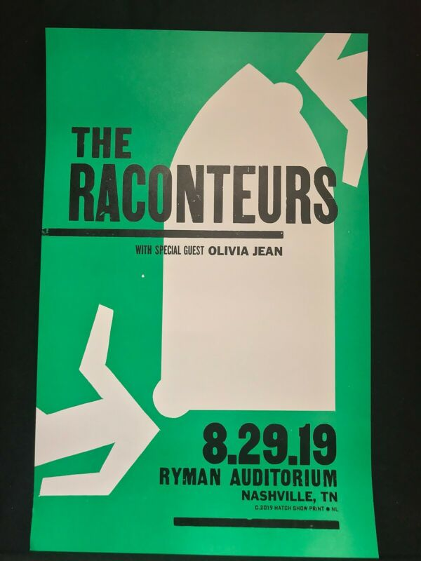 Hatch Show Print Poster The Raconteurs 8/29/19 Night One Ryman Nashville TMR