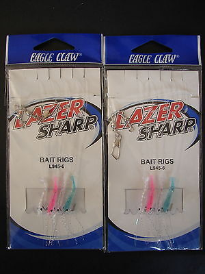 - 2 packs Eagle Claw Lazer Sharp Bait Rigs L945-6
