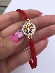 Gold -златиста-Tree Of Life With Blue Eye Red Thread Luck Handmade Bracelet