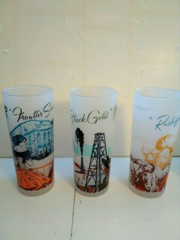 VINTAGE FROSTED TOM COLLINS GLASS AMERICAN FRONTIER SCENES - Set of 3