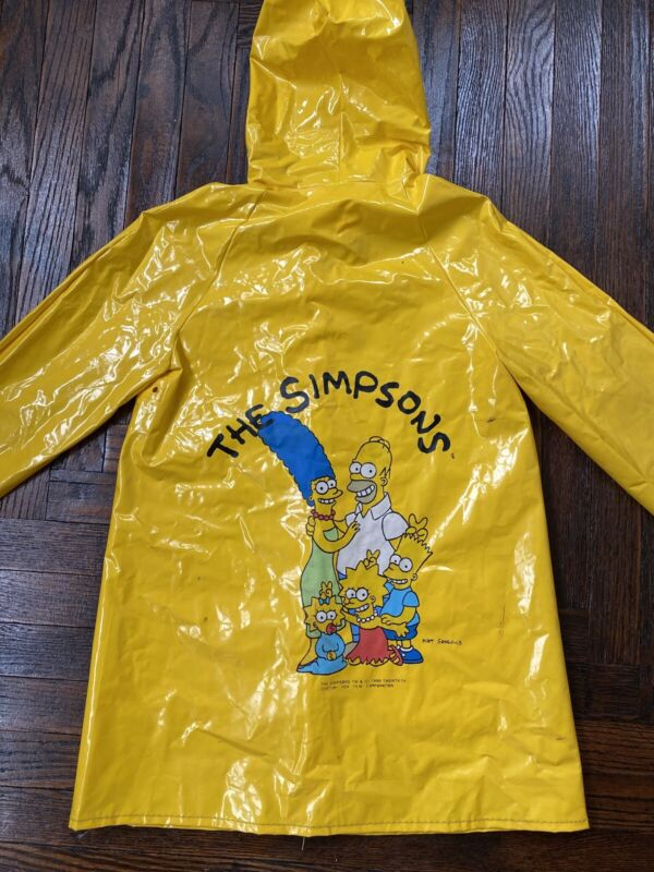 Vintage 90s The Simpsons Yellow Rain Jacket Coat Kids Pockets 7
