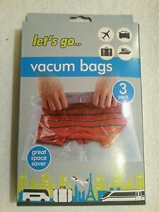 3 Packs 38x54cm Vacuum Vacum Storage Saving Space Seal Bags Travel Suitcase Smal