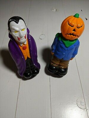 1995 Empire Halloween Blow Mold Marker Light Stake Toppers Pumpkin Dracula Duo