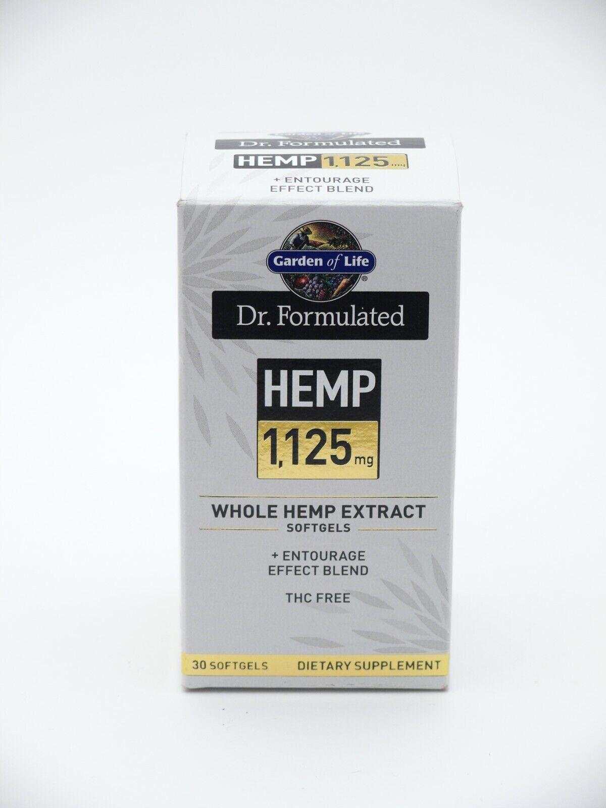 Garden Of Life Dr. Formulated Hemp 1,125mg 30 Softgels NEW SEALED (exp 03/2021)