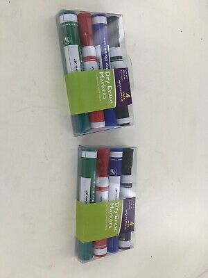 Wexford Dry Erase Non-toxic Low Odor Chisel Tip Markers 4 Pack Lot Of 2 New