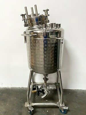 Bulling 80 Liter Stainless Steel Dimple Jacketed Tank 60 Psi Fv Bottom Drain