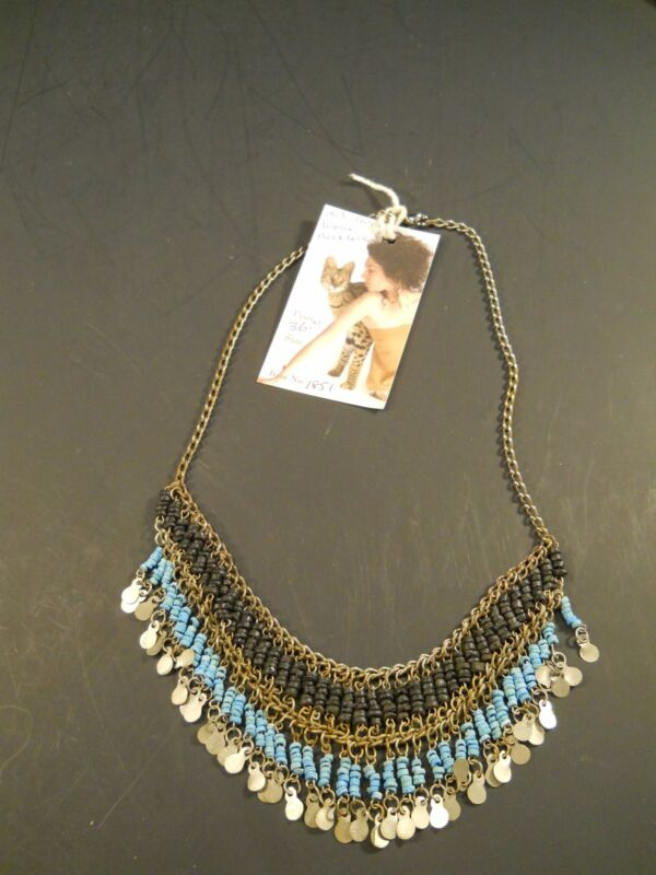 Old India Tribal Necklace – Black/Turquoise colored Beads - Gold-colored charm