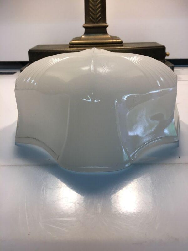 Large Vintage Antique Art Deco Opal White Glass Bathroom Desk Lamp Shade 8 1/4