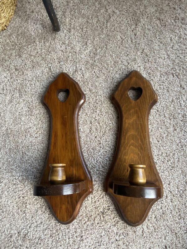 Vtg Homco Wood Candle Holders Wooden Wall Sconces Hanging Farmhouse Cottage