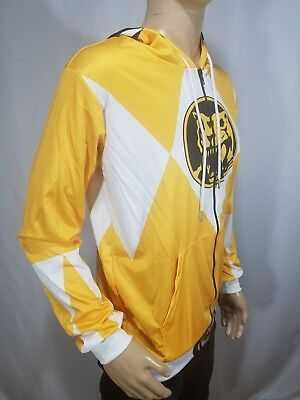 Power Rangers Costume Yellow (Power Rangers Costume Hooded Zip Sweatshirt Stretch Hoodie Yellow White Medium)