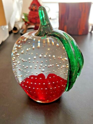 Gibson Art Glass Red APPLE Blossom Bubble Paperweight