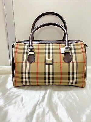 Authentic vintage Burberry nova check stripe canvas brown leather boston bag
