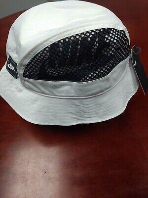White Bucket Hat (Nike Mens Bucket Hat Mesh Cap White Black BV3363-100 Unisex L/XL Sportswear)