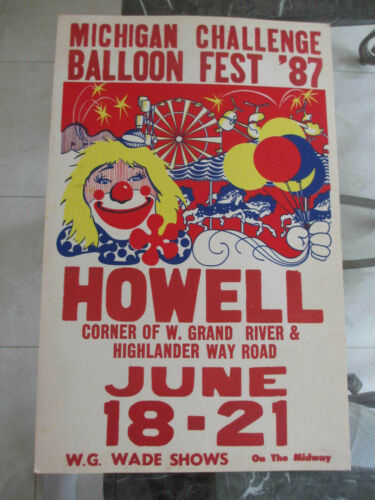 VINTAGE 1987 Howell Michigan Challenge Balloon Fest Carnival Poster *