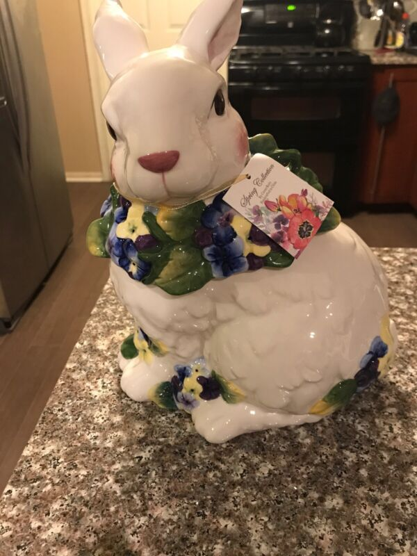 Spring Collection by Corner Ruby Bunny Cookie Jar NEw
