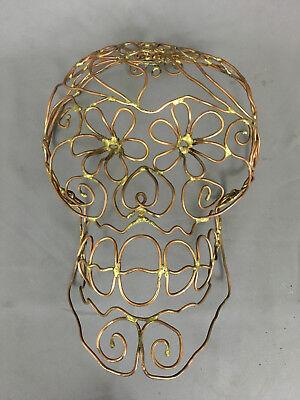 DAY OF THE DEAD brass & copper Skull Sculpture by Northwest Artist Halloween ()