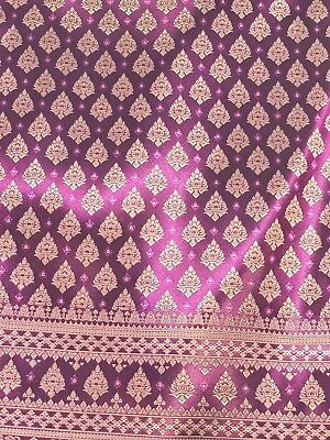 Purple Pink Thai Silk Damask Traditional Wedding Dresses Skirts Costume 40