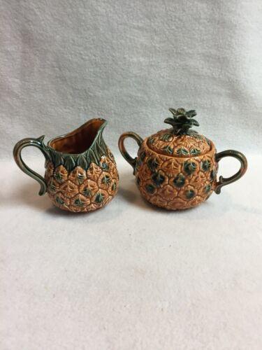 Vintage Lefton Pineapple Creamer and Lidded Sugar Bowl Set