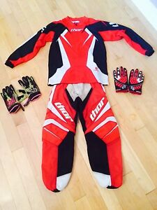 Thor Dirt Bike Riding Jersey, Pants, and Fox Gloves