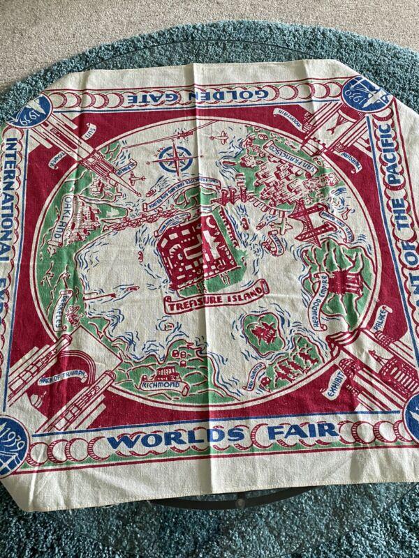 Vintage 1939 Golden Gate International Exposition Table Cloth Worlds Fair