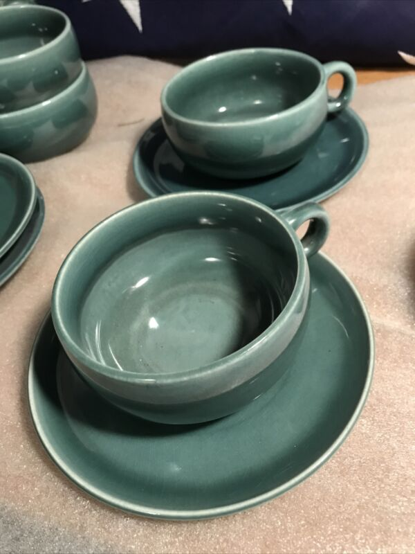 Russel Wright steubenville seafoam Cup & Saucer MCM 2 sets