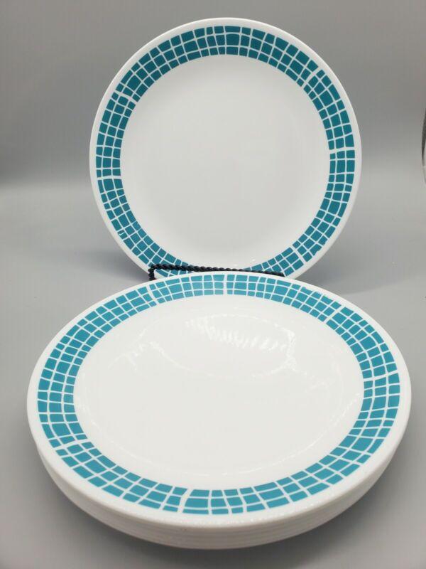 "SET OF 8 CORELLE AQUA TILES 10-1/4"" Dinner Replacment Plates Turquoise Teal"