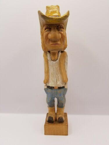 Vintage 1980 Hand Carved Wood Cowboy Figurine - Artist Signed Crafted Folk Art