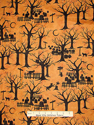 Halloween Fabric - Night Silhouette Pumpkin Black Cat Crossing Maywood - Yard - Halloween Cat Fabric