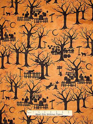 Halloween Fabric - Night Silhouette Pumpkin Black Cat Crossing Maywood - Yard - Halloween Cat Fabric