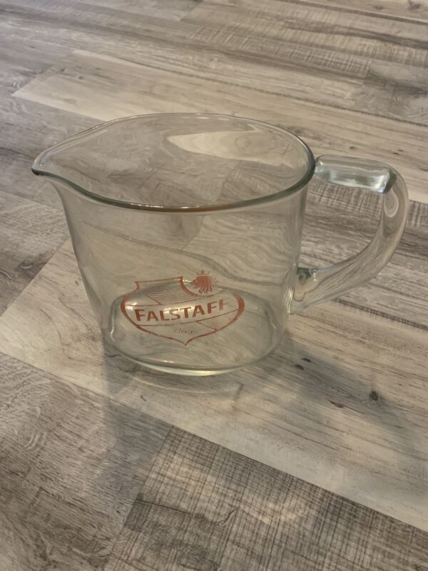 Falstaff Beer Vintage Heavy Glass Pitcher - 64oz - MUG Oval