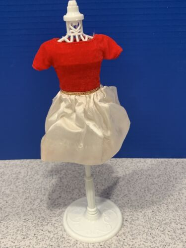 Vintage Skipper 1902 Silk N Fancy Red Velvet And White Satin Dress  - $8.50
