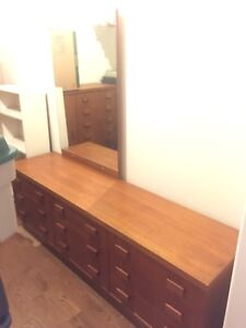 Solid Teak Dresser with Mirror