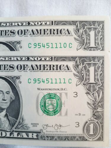 2013, 2, 1, UNCIRCULATED, GEM, Consecutive S/n, Very Fancy - $9.95