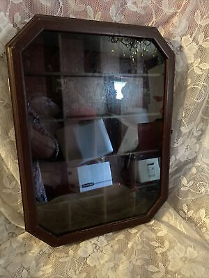Vintage Curio Hanging Shadow Box Display Case Glass Top 22 Space Wooden