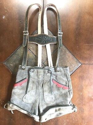 Vintage Leather German Lederhosen Edelweiss Suspenders Boys Octoberfest Outfit - October Fest Outfit