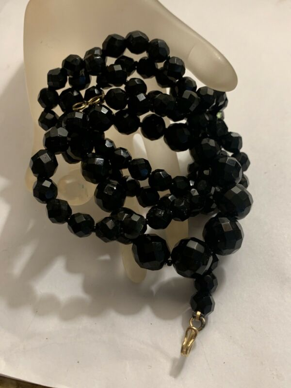 """Antique Victorian  Faceted Graduated Long Jet Mourning Necklace 36"""" 84g"""