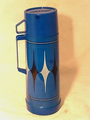 Vintage Aladdin Vanguard Thermos Blue & Black Argyle 1 Qt.