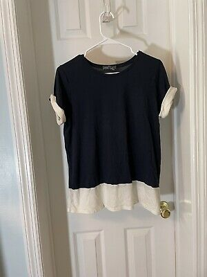 Vince Women's Size Medium Short Sleeve Tee Shirt Navy