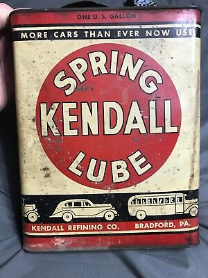 Vintage Spring Kendall Lube Refining Co One Gallon Oil Can Auto NOS FULL Trans