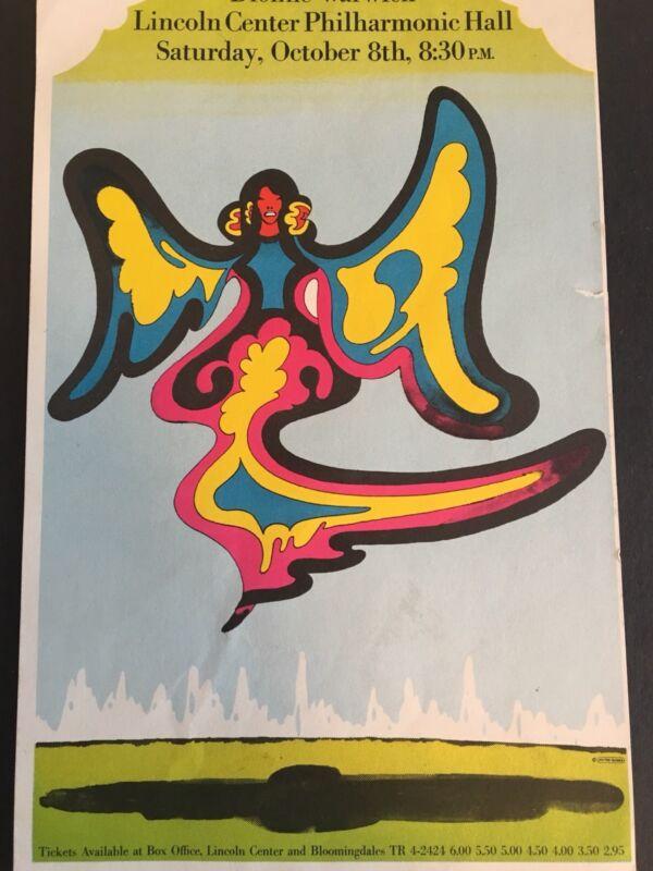 Dionne Warwick 1967? vintage original concert handbill/flyer, Lincoln Center