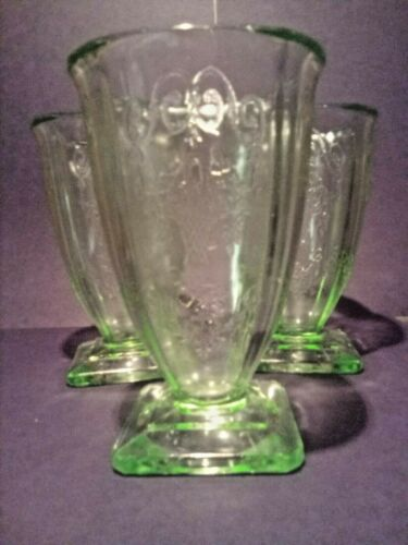 "3 Indiana Glass No 615 Lorain ""Basket"" 9 Oz Footed Tumblers - Very Nice - Green"