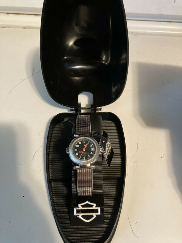Harley Davidson Watch with stainless band/gas tank case gift collectible running