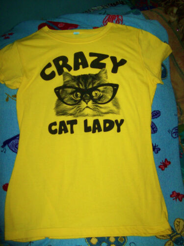 Crazy Cat Lady Yellow Tee Shirt Cat in Glasses Cute Size M/L EUC