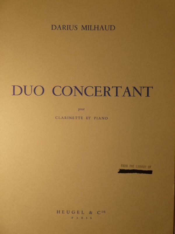 DUO CONCERTANT-DARIUS MILHAUD Bb CLARINET & PIANO   FREE SHIPPING