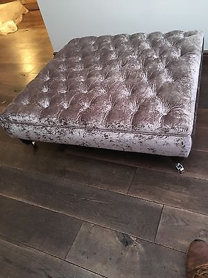 extra large chesterfield footstool/coffee table in silver grey