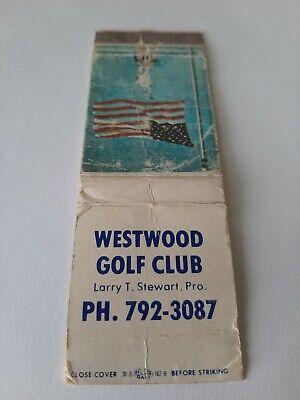 Vintage Westwood Golf Club Larry Stewart Pro Matchbook Cover