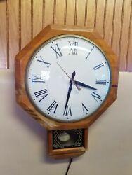 Vintage UNITED CLOCK CORP Wall Clock Schoolhouse Model #597 Wood Octagon Case