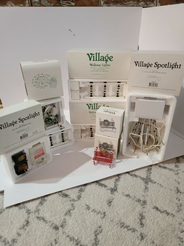 Village Landscape and Accessories Lot Department 56 walkway lights, light tree