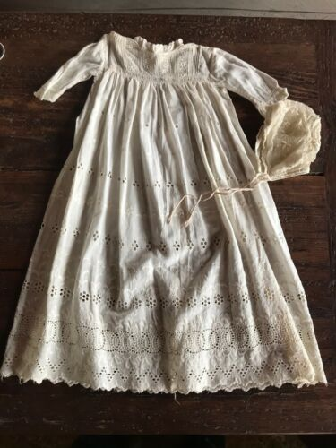 Five Piece Collection Antique Lace and Cotton Baby Christening Gown Coat Bonnet